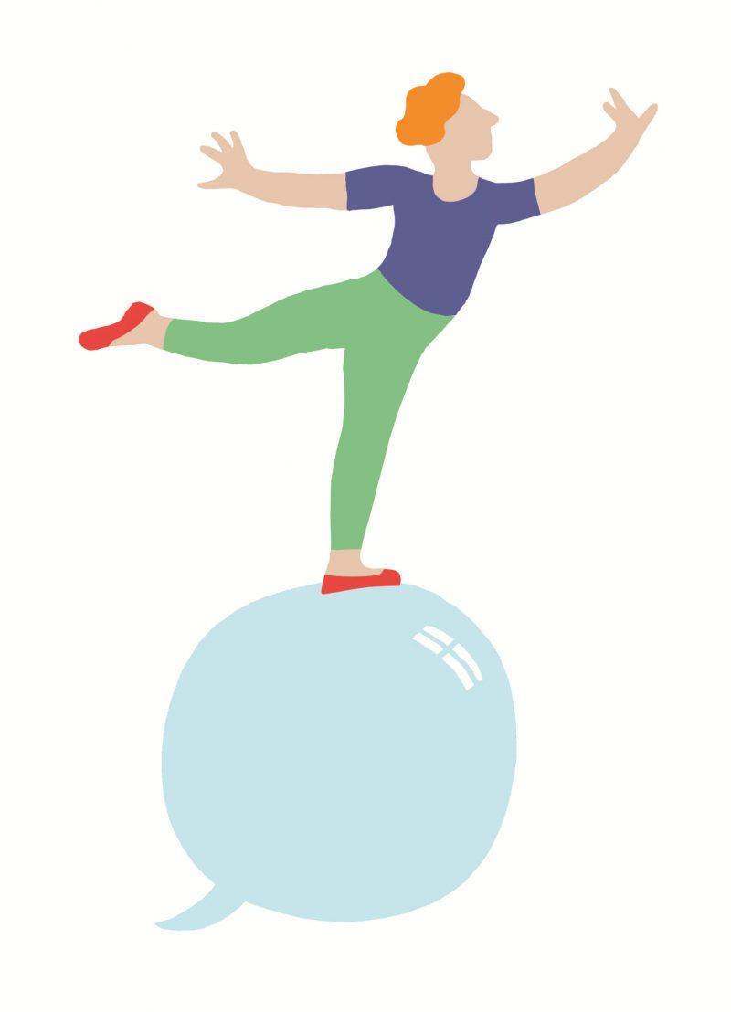 Une personne se tient en équilibre sur une bulle de savon / bulle de texte.
