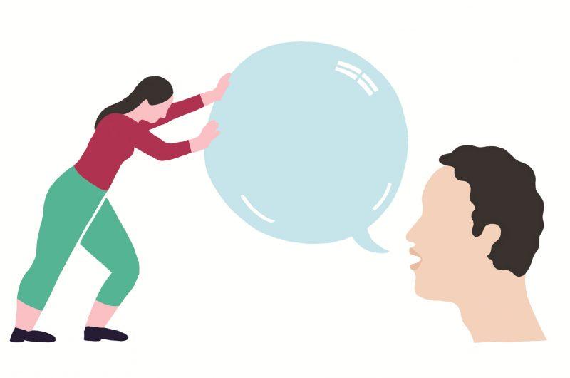Eine Person schiebt die gesprochene Sprechblase von jemand anderem zurück.