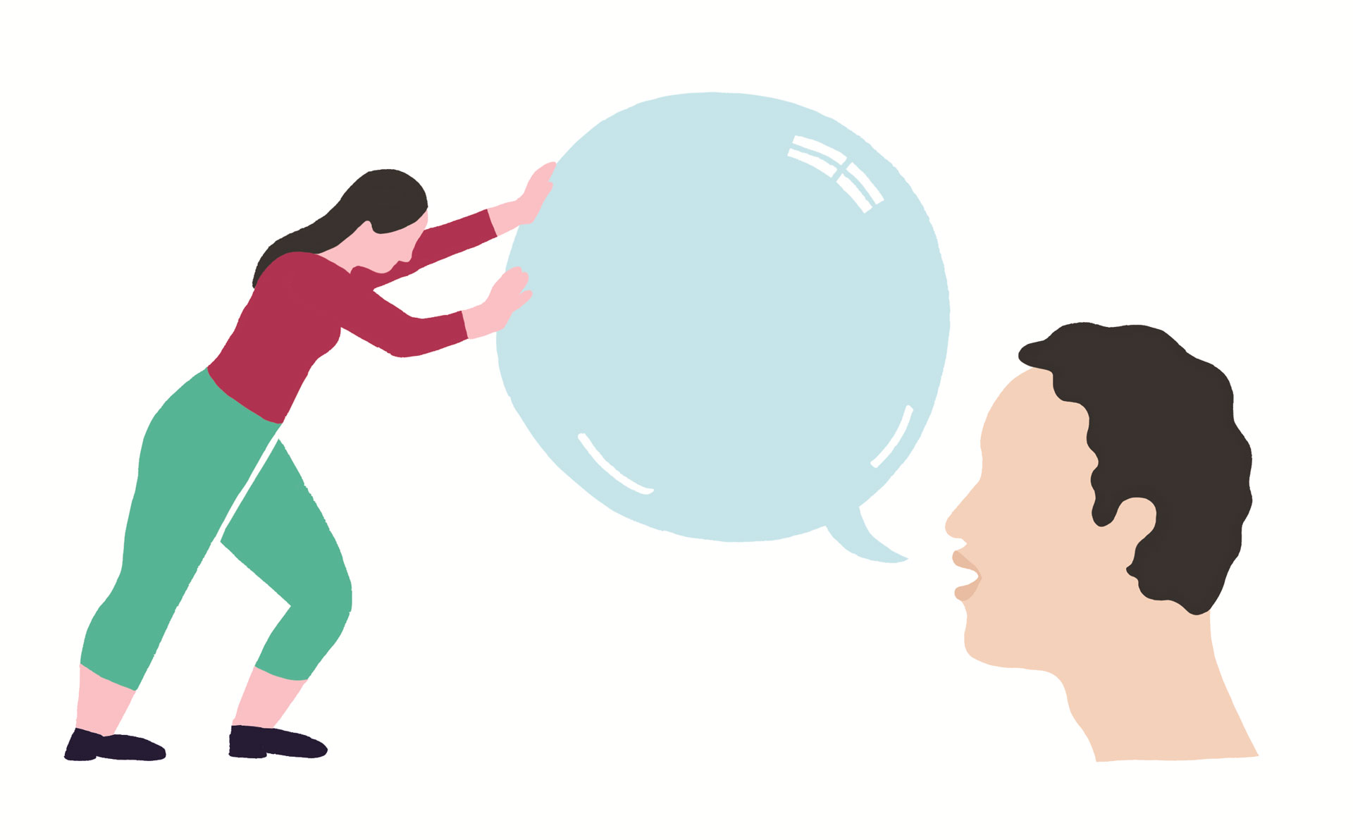Une personne repousse une bulle de texte prononcée par quelqu'un d'autre.