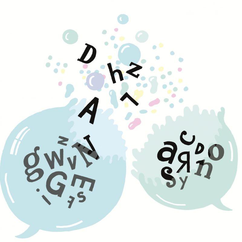 Zwei Sprechblasen, mit Buchstaben drin, platzen.