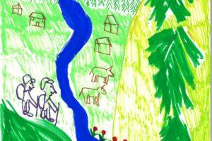 Zeichnung. Ein Fluss fliesst durch eine Naturlandschaft. Zwei Menschen sind am Wandern.