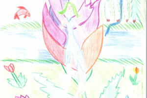Zeichnung: Elfe im saphirblauen Elfenwald